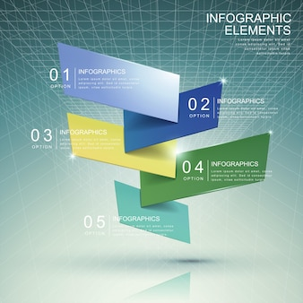 Modern abstract translucent bar chart infographic elements