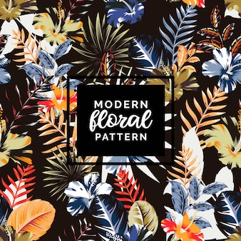 Modern abstract tropical hibiscus mix pattern