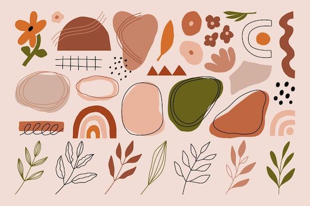 Modern abstract various organic shapes minimal geometric vector illustration.