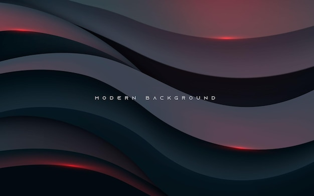 Modern abstract wavy shape black background with red light effect