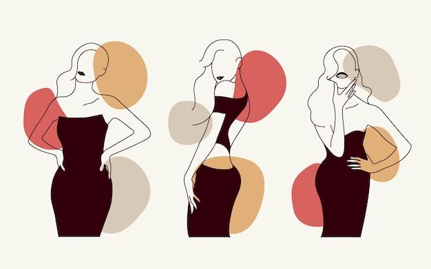 Современные абстрактные женщины набор из нарисованных набросков модных иллюстраций premium векторы