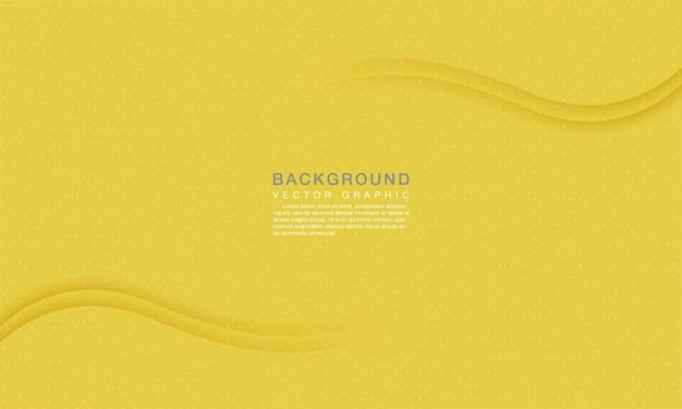ドット装飾とモダンな抽象的な黄色の波の背景の概念。