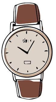 男性と女性のためのモダンなアクセサリー、手のための孤立したユニセックス時計。矢印付き腕時計、ミニマリストのファッショナブルなデバイス。時間を伝えるための洗練されたスマートガジェット。フラットスタイルのベクトル