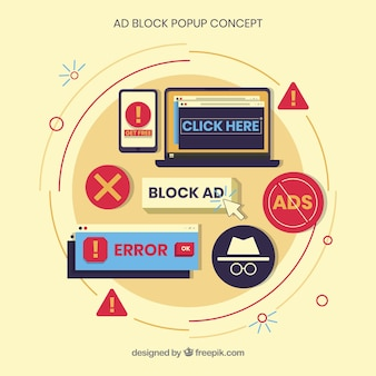 Modern ad block concept with flat design