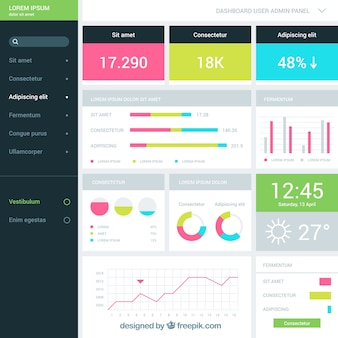 Modern admin dashboard with flat design