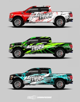 Modern adventure designs for truck wrapped