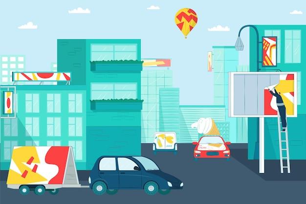 Современный рекламный щит на городском здании и легковой автомобиль с плоским векторная иллюстрация ...
