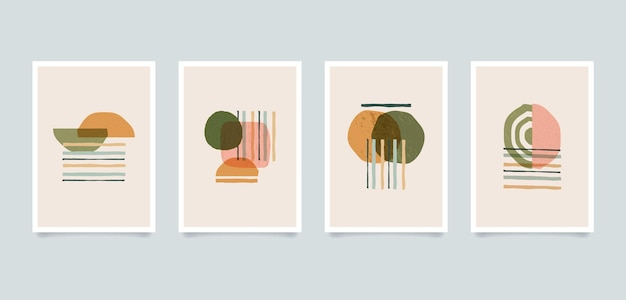 Современные эстетические минималистичные абстрактные иллюстрации. коллекция художественных постеров в современном стиле.