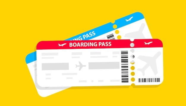 Современный дизайн авиабилетов с указанием времени полета и имени пассажира. билеты на самолет векторная пиктограмма. шаблон посадочного талона авиакомпании. векторная иллюстрация. концепция авиаперевозок