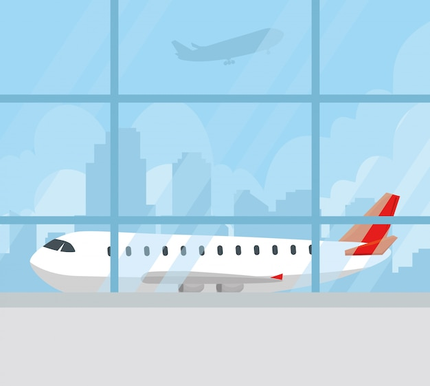 Modern airliner in terminal, large commercial passenger aircraft on airport vector illustration design