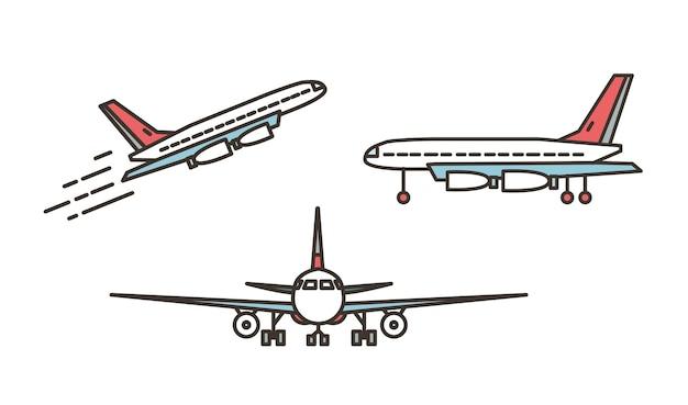 現代の飛行機、旅客機、旅客機、またはジャンボジェット機が離陸または上昇し、白い背景で隔離された地面に立っています。正面図と側面図。ラインアートスタイルのベクトルイラスト。