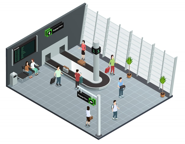 Modern airport baggage carousel isometric view poster with passengers waiting luggage