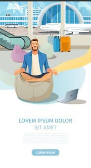 Modern airport comfortable lounge vector website
