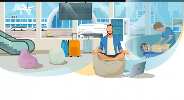 Modern airport passenger services vector website