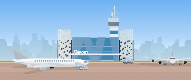 Modern airport. runway. airplane on the runway. airport in a flat style. city silhouette.  illustration