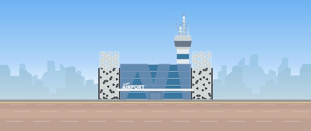 Modern airport. runway. airport in a flat style. silhouetted by the city.  illustration