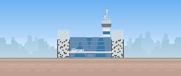 현대 공항. 통로. 플랫 스타일의 공항. 도시에 의해 윤곽. 삽화
