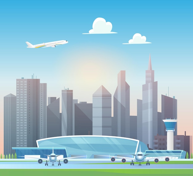 현대적인 공항 터미널 건물 비행기가 사무실 고층 빌딩 위의 하늘로 이륙