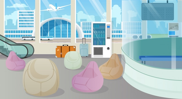 Modern airport waiting room, lounge cartoon vector