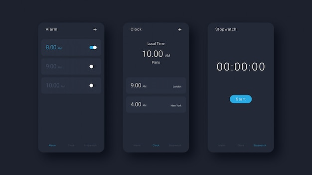 Modern alarm, clock and stopwatch interface