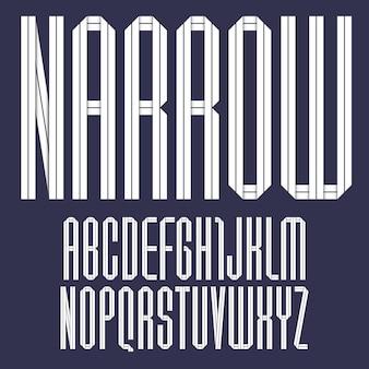 Современный алфавит, сложенный из бумажной ленты. шрифт узкий с темной полосой. заглавные буквы в плоском стиле.