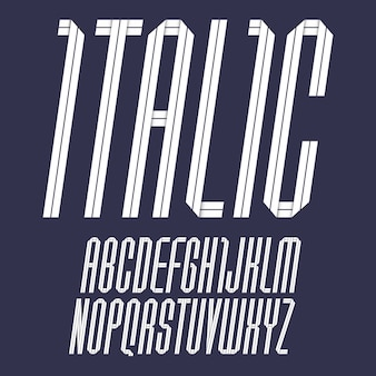 Modern alphabet folded of paper tape. italic font, white letters