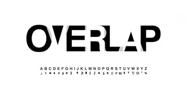 Modern alphabet font overlap style