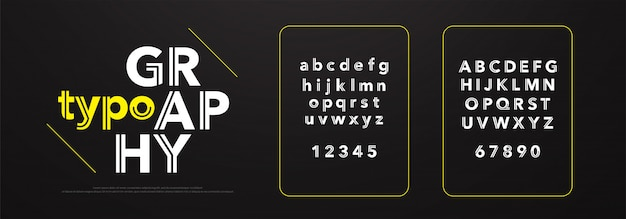 Abstract modern thin line font minimal alphabet Vector | Premium