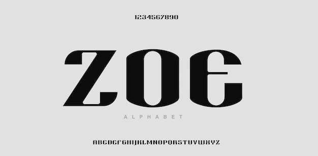 現代のアルファベットのフォントと数字