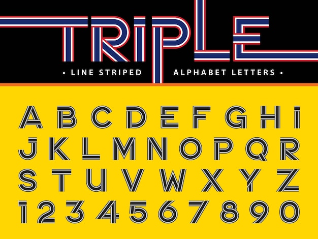 Modern alphabet letters and numbers, triple line stripes font,