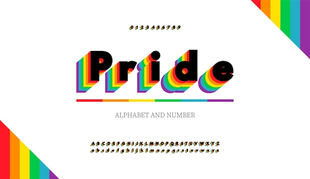 Modern alphabet letters and numbers with rainbow colors. rainbow flag colors lgbt font.
