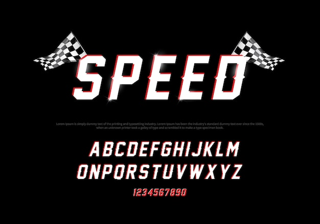 Modern alphabet and number fonts racing. speed typography font