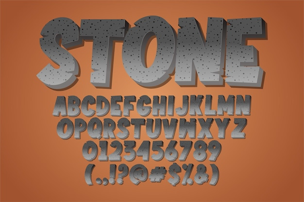 Modern alphabet style with stone effect