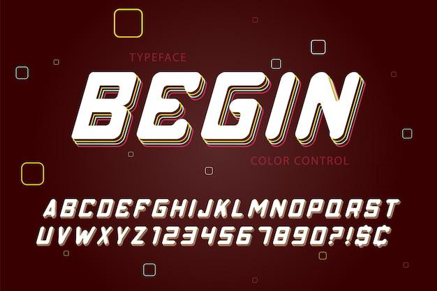 現代のアルファベット、見本の色の制御、斜体、abc