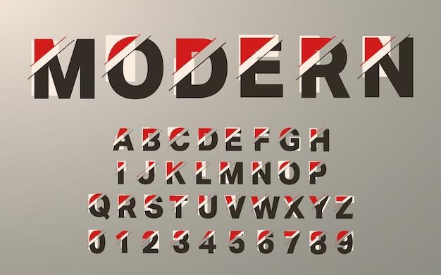 현대 알파벳 템플릿입니다. 글리치 타이포그래피 문자와 숫자 세트.