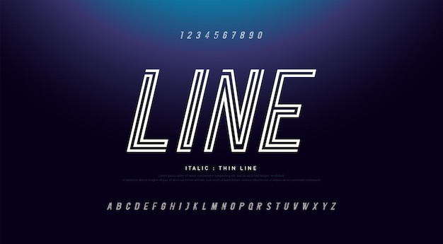 Modern alphabet thin line italic fonts and numbers
