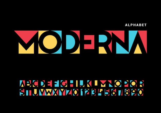 Современный алфавит. модный футуристический набор букв