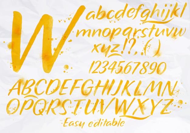 Modern alphabet watercolor orange color