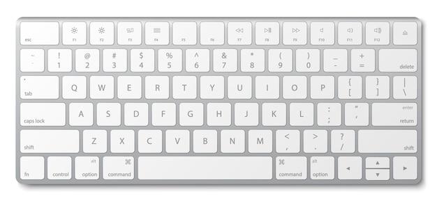 Modern aluminum computer keyboard isolated on white