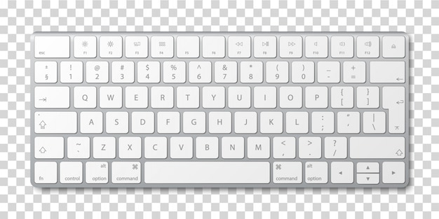 Modern aluminum computer keyboard on transparent background.