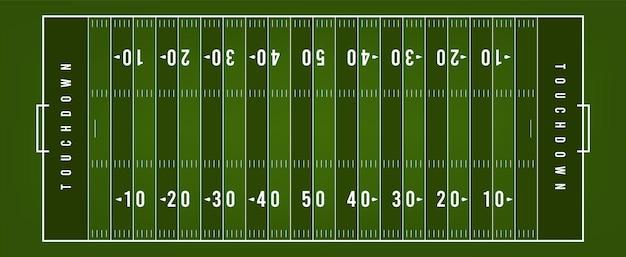 現代のアメリカンフットボールのフィールド、上面図