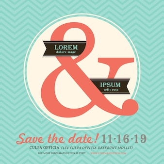 Modern ampersand wedding invitation with chevron background