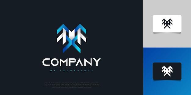 파란색과 흰색의 현대적이고 추상적인 초기 문자 m 및 x 로고. mx 초기 로고 디자인 템플릿. 기업 비즈니스 아이덴티티에 대한 그래픽 알파벳 기호
