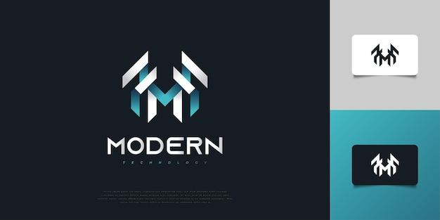 흰색과 파란색 그라디언트의 현대적이고 추상적인 초기 문자 m 로고 디자인. m 모노그램 로고 디자인 템플릿입니다. 기업 비즈니스 아이덴티티에 대한 그래픽 알파벳 기호
