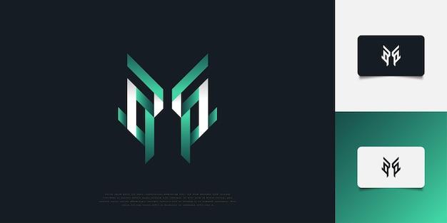 Дизайн логотипа современные и абстрактные буквица m в белый и зеленый градиент. шаблон дизайна логотипа вензеля h. графический символ алфавита для фирменного стиля