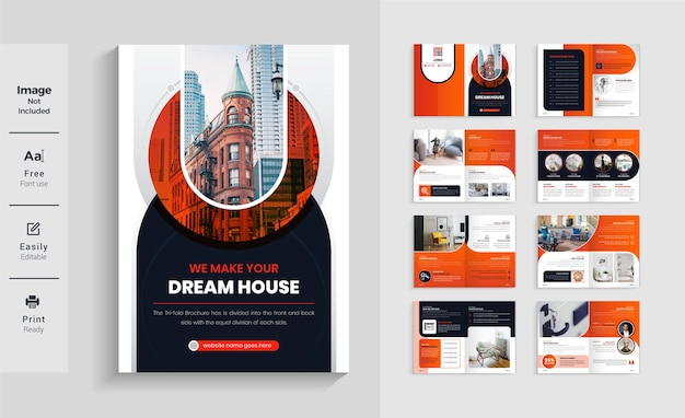 현대적이고 다채로운 16 페이지 부동산 비즈니스 브로셔 템플릿