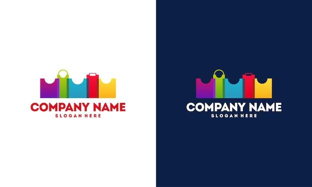 Современный и красочный городской магазин логотип векторные иллюстрации, логотип интернет-магазина