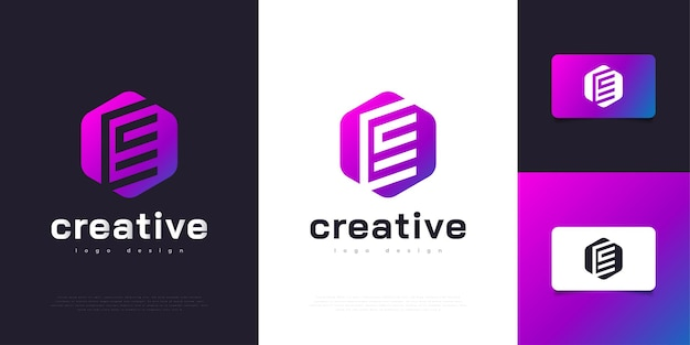 현대적이고 다채로운 편지 e 로고 디자인 템플릿입니다. 기업 비즈니스 아이덴티티에 대한 그래픽 알파벳 기호