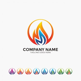 Modern and creative flame in circle logo design template.