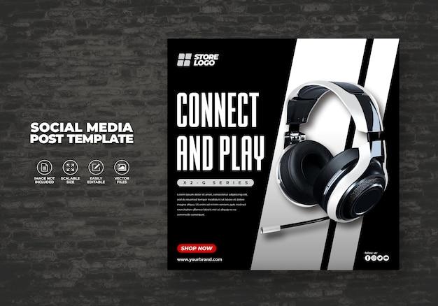 ソーシャルメディアテンプレートバナー用のモダンでエレガントなブラックカラーワイヤレスヘッドホンブランド製品
